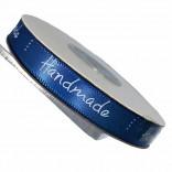 """Сатенена лента с надпис """"Handmade"""" - 1 cm - 03"""