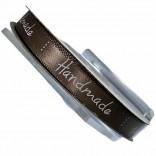 """Сатенена лента с надпис """"Handmade"""" - 1 cm - 04"""
