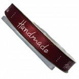 """Сатенена лента с надпис """"Handmade"""" - 1 cm - 05"""