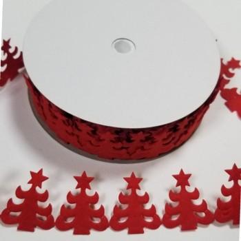 ЛЕНТА КОЛЕДНА - 3,1 см - червена - 10 ярда
