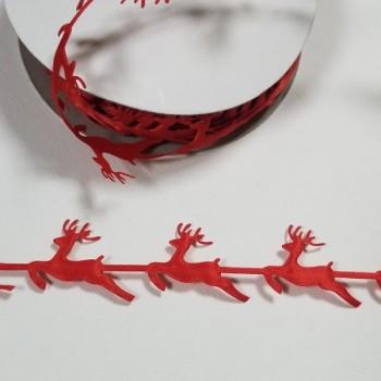 ЛЕНТА КОЛЕДНА - ЕЛЕНЧЕТА - 2,5 см - червена - 10 ярда