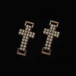 Кръст месинг с циркони, свързващ - 5 бр - цвят розово злато