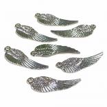 ЕЛЕМЕНТ С ЦИРКОНИ - КРИЛО - 10 броя - цвят сребро