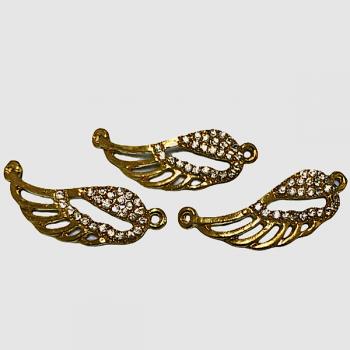 Елемент свързващ, крило с циркони - златист